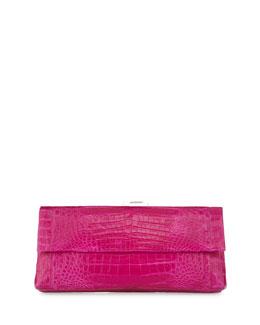 Gotham Crocodile Flap Clutch Bag
