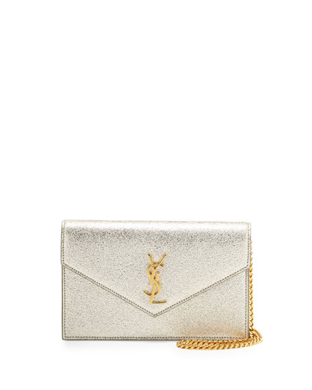 7510c2b1e0 Saint Laurent Monogram Metallic Leather Wallet-on-Chain Bag