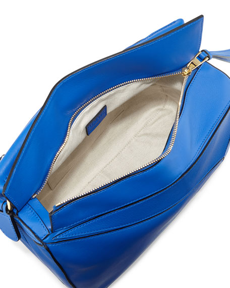 Small Leather Puzzle Bag, Electric Blue