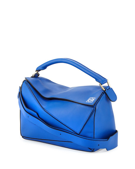 Loewe Small Leather Puzzle Bag, Electric Blue