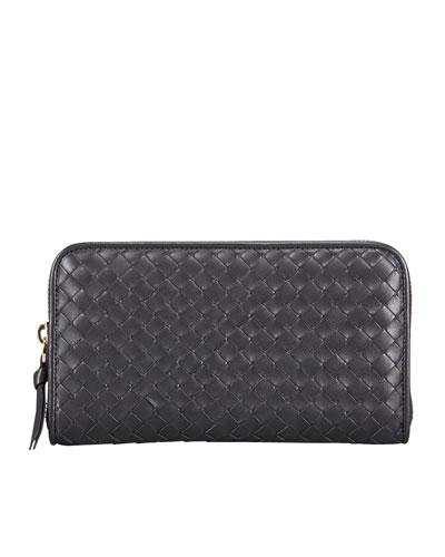 Woven Zip Wallet, Black