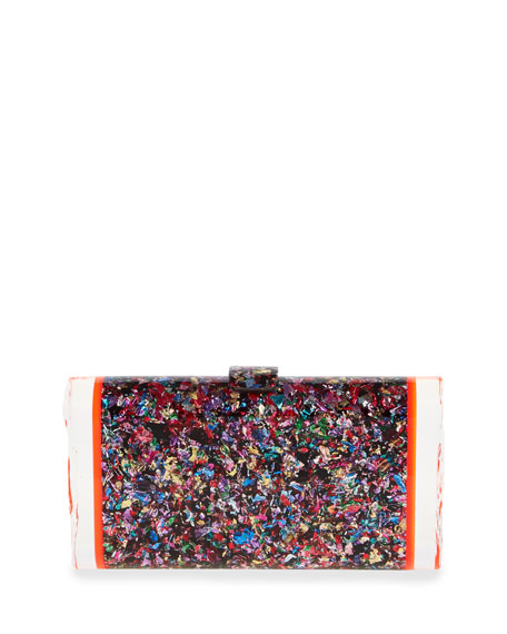 Edie Parker Lara Confetti Acrylic Backlit Clutch Bag,