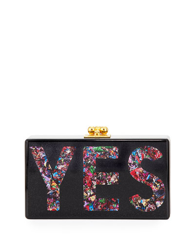 Jean Glittered Yes Box Clutch, Black
