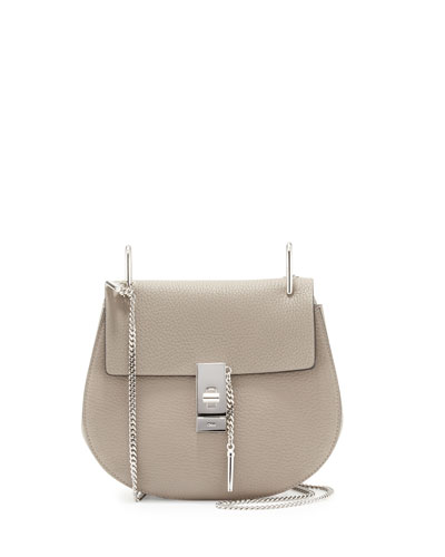 Drew Small Leather Shoulder Bag, Motty Gray