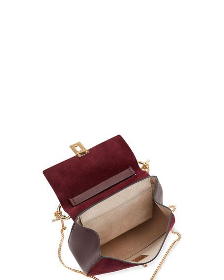 Drew Mini Chain Saddle Bag, Dark Purple