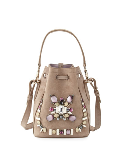 Small Beaded Suede Bucket Bag, Taupe