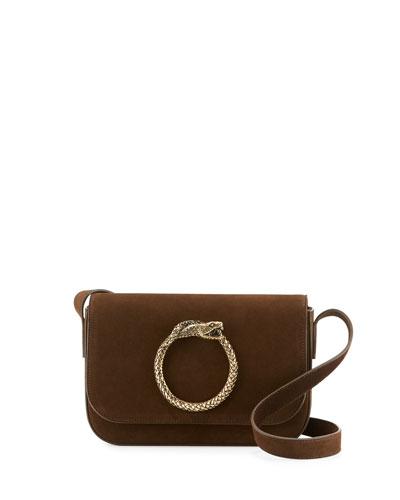 Eddie Serpent Suede Shoulder Bag, Coffee