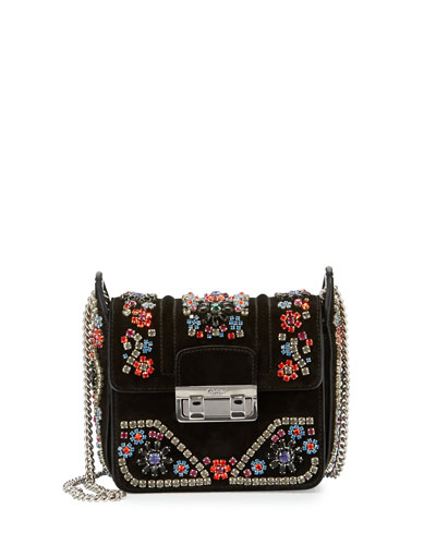 Crystal-Embellished Suede Shoulder Bag, Black