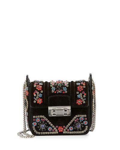 Crystal-Embellished Suede Shoulder Bag, Black