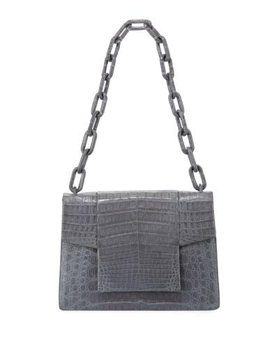 Crocodile Flap-Top Chain Shoulder Bag