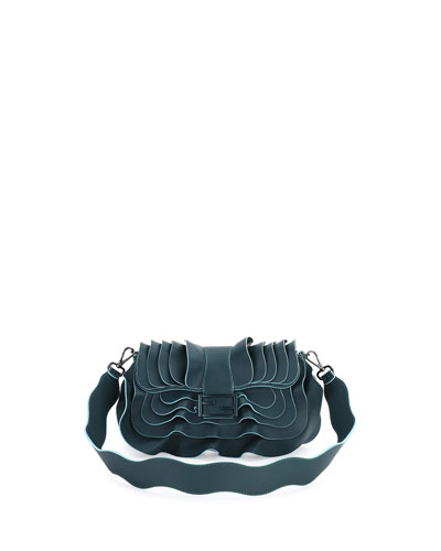 Baguette Wave Leather Bag, Dark Green