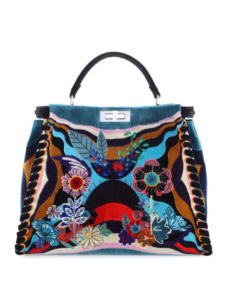 Peekaboo Large Embroidered Velvet Bag, Multi
