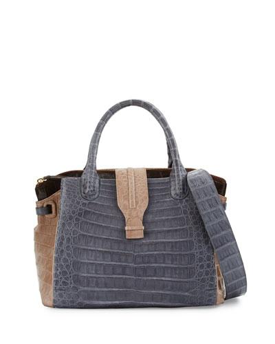 Cristina Medium Tricolor Crocodile Tote Bag, Brown/Taupe