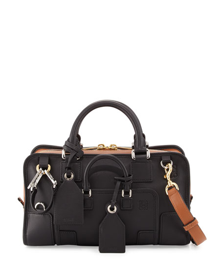 Loewe Amazona 28 Multiplication Satchel Bag, Black/Tan