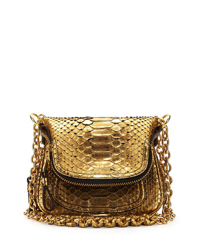 Jennifer Mini Python Shoulder Bag, Antique Gold