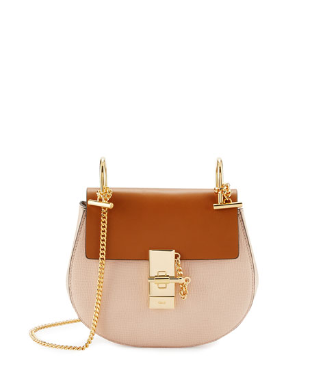 Chloe Drew Mini Colorblock Shoulder Bag, Beige/Mustard