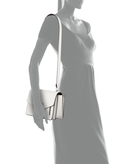 Hava Matte Python Shoulder Bag, White