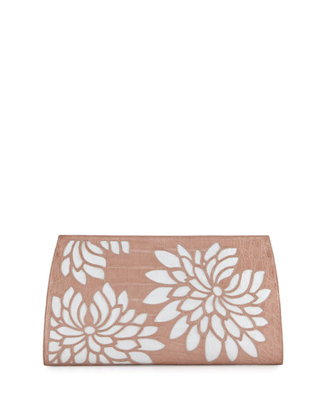 Floral Laser-Cut Crocodile Clutch Bag, Nude