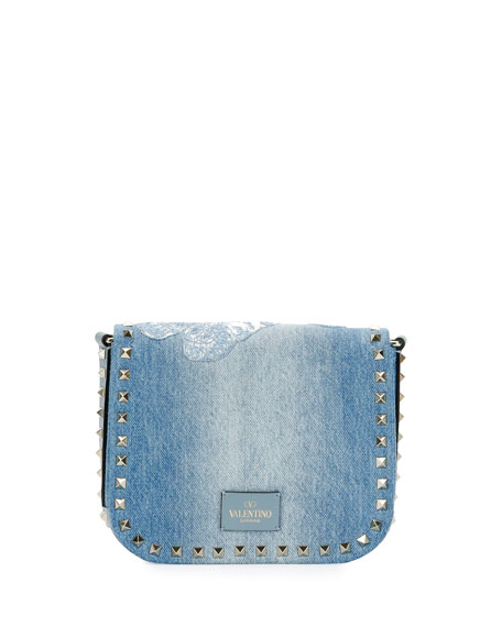 Rockstud Small Butterfly Washed Denim Crossbody Bag, Light Denim