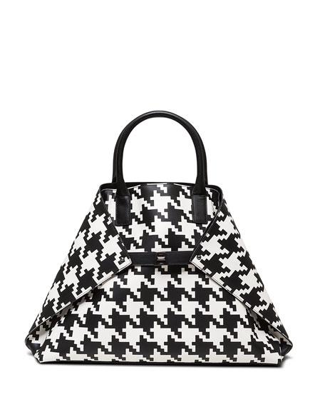Akris Ai Medium Top-Handle Houndstooth Shoulder Bag