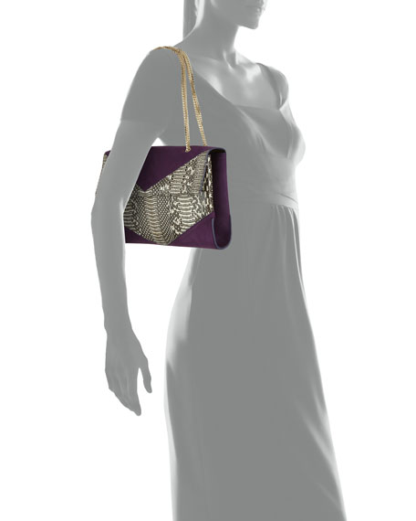 Mado Fold-Over Snakeskin Shoulder Bag