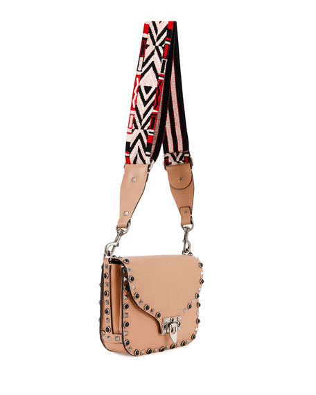 Leather Rockstud Crossbody Bag, Beige