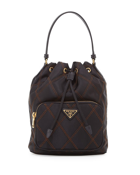 Prada Quilted Tessuto Bucket Bag, Black