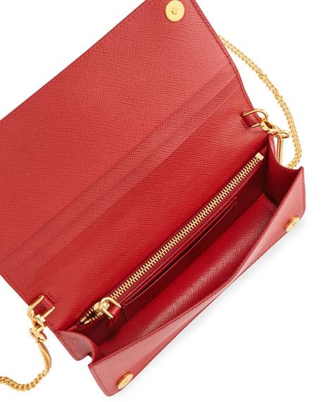 2c70ab5cdf9f84 Prada Saffiano Flap Phone Wristlet Wallet w/ Crossbody Strap