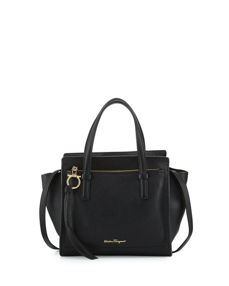 Image 1 of 1: Small Leather Tote Bag, Nero