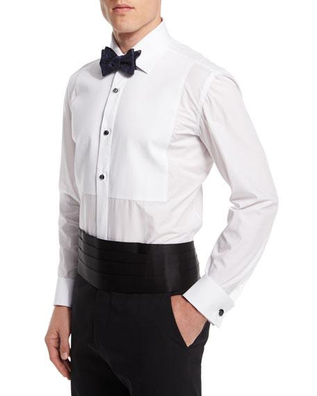 Long-Sleeve Pique-Bib Dress Shirt, White
