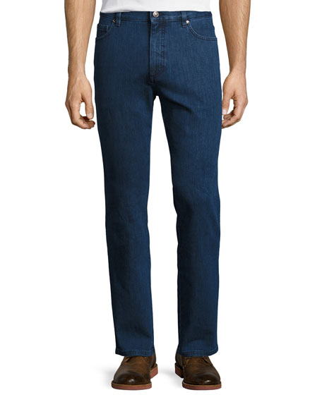 Stretch-Denim Straight-Leg Jeans