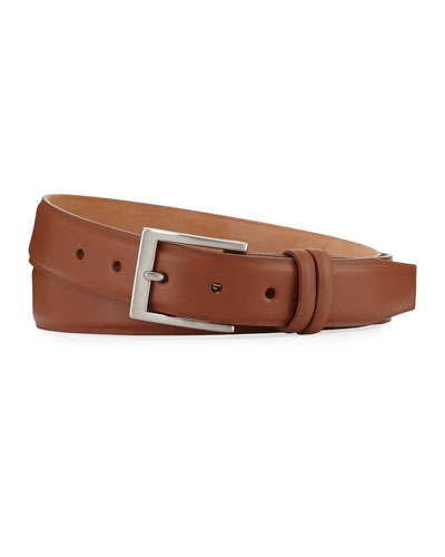 Basic Leather Belt with Interchangeable Buckles  Brown