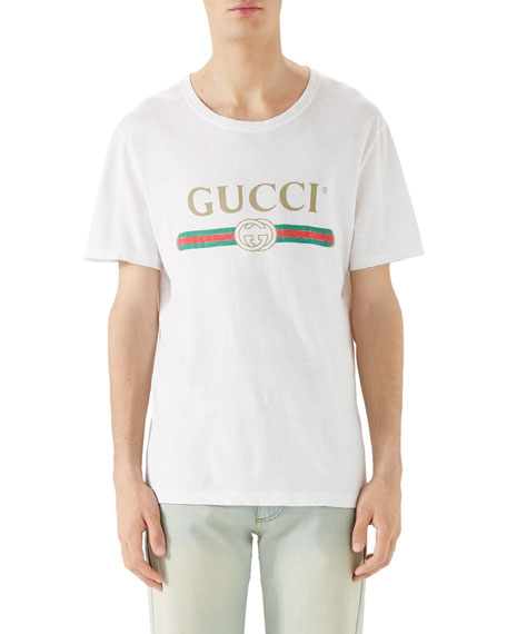 0daead235 Gucci Washed T-Shirt w/GG Print, White
