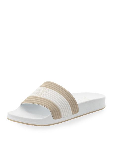 Brunello Cucinelli Fabric Slide Sandal w/Solomeo Crest, White