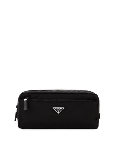 Nylon Double-Zip Toiletry Bag  Black
