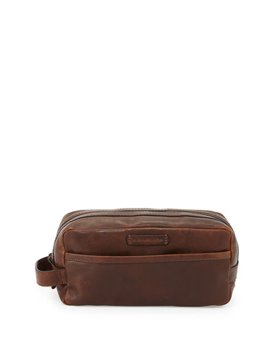 Logan Leather Travel Kit  Dark Brown