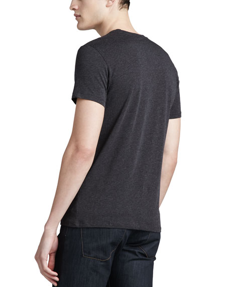 V-Neck Silk-Cotton T-Shirt, Charcoal