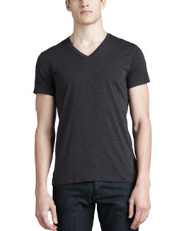 Theory V-Neck Silk-Cotton Tee, Charcoal
