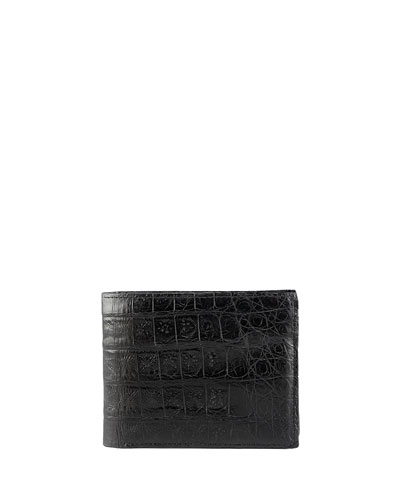 Crocodile Bi-Fold Wallet, Black