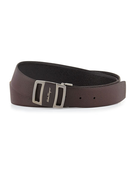 Reversible Vara-Buckle Belt, Black/Brown