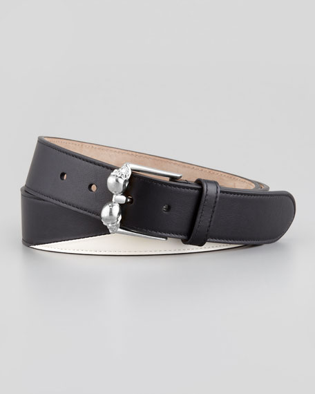 Men's Double-Skull-Buckle Belt, Black/Silvertone