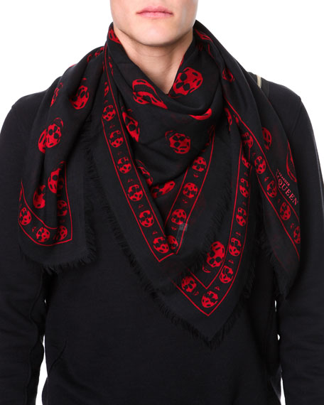 Skull-Print Pashmina Shawl, Black/Red
