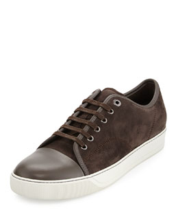 Men's Suede Cap-Toe Low-Top Sneaker, Taupe
