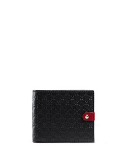 Microguccissima Leather Bi-Fold Wallet, Black/Red