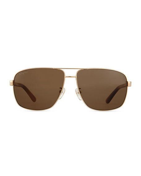 Polarized Aviator Sunglasses, Shiny Rose-Tone