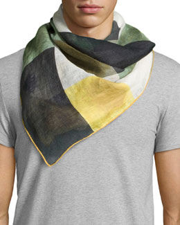Linen Colorblock Square Scarf, Medium Green