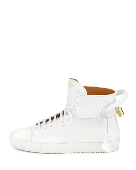 125mm High-Top Leather Sneaker with Padlock, White