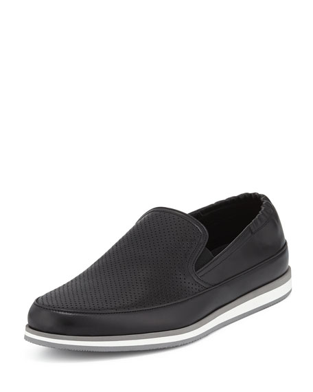 prada bags prices uk - Prada Perforated Leather Slip-On Loafer, Black