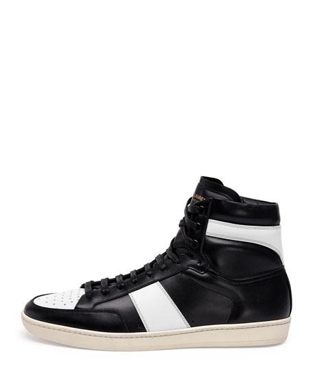 Contrast-Stripe Leather High-Top Sneaker