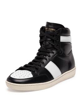 Contrast-Stripe Leather High-Top Sneaker